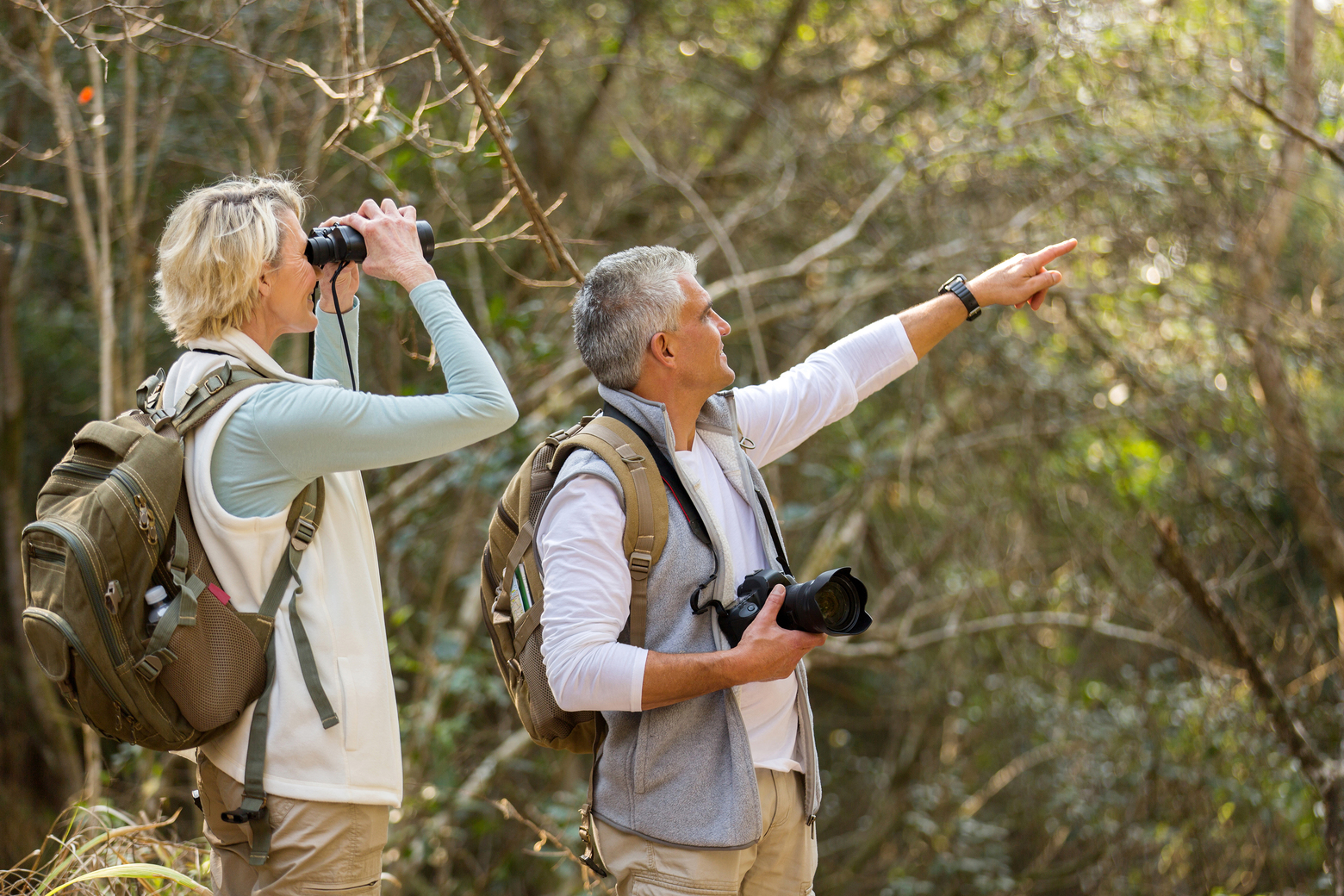 Couple hiking and taking photos
